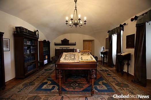 The rabbi's study, outfitted with some 500 books on Judaism.