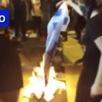Video: Israeli Flag Set on Fire Outside DNC