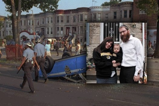 Scene from the Crown Heights riots. Inset: Rabbi Avraham Lapine with his wife and son.