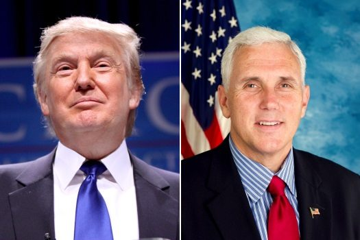 Left: Donald Trump. Right: Mike Pence.