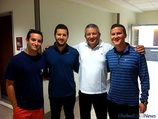 Jack Hananya of Long Island, N.Y., underwent a kidney transplant at Weill Cornell Medical Center after battling kidney disease for two decades. His donor was a Chabad rabbi. Hananya, a native Israeli, stands with his three sons, from left: Yuval, Guy and Tomer.