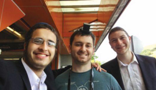 (From left) Mendel Weinfeld, Dan Goldman and Mendel Erlinwein in Orinda, CA.