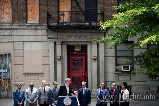 Mayor Bill de Blasio Hosts a Press Conference with Attorney General Eric Schneiderman on the corner of Union Street and Troy Avenue to announce the arrest of Melamed, on June 17, 2015.