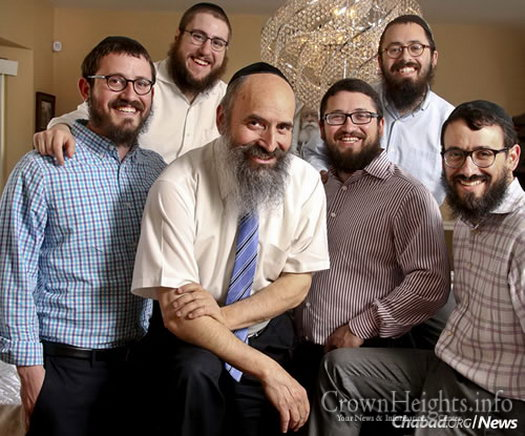 Rabbi Tuvia Teldon, center, director of Lubavitch of Long Island, N.Y., with his four sons and son-in-law (Photo: Newsday/John Paraskevas)