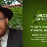 Monday: Shloshim for R' Mendel Brikman, OBM
