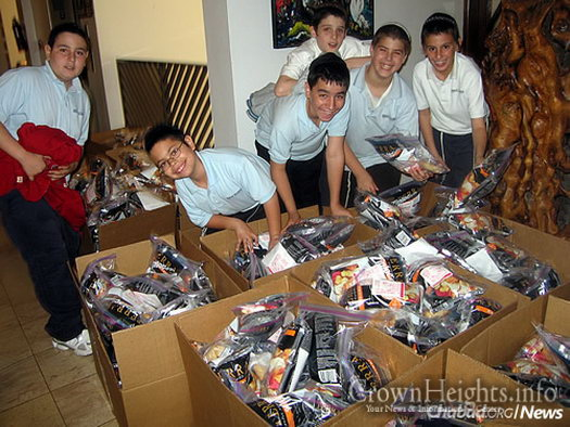 These boys helped with a Purim drive, organizing items to be sent to other Jewish children.