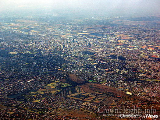 An aerial view of the sprawling city of Johannesburg, where about 50,000 Jews reside.