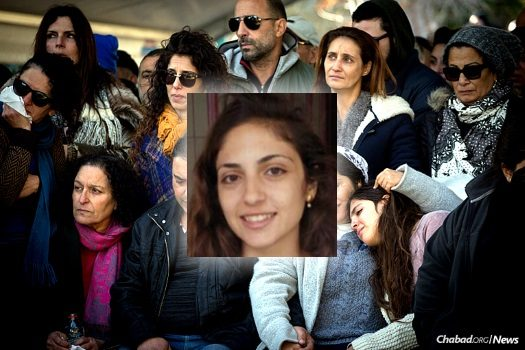 Family and friends mourn at the funeral of 22-year-old Lt. Shir Hajaj (inset).