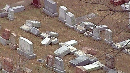 As many of 200 headstones at one of the St. Louis area's oldest Jewish cemeteries were toppled over the weekend.