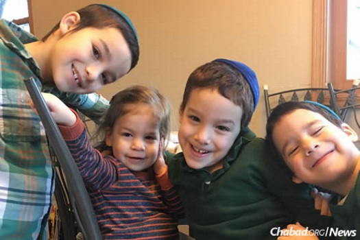 "The Shemtov children in Chicago. Rabbi Benzion Shemtov: ""We will have a Shabbat program with a full house of students coming over for meals as usual."""