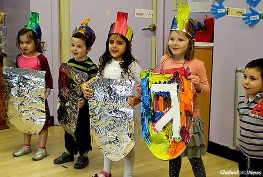 Children put on a Chanukah show at Lubavitch Cheder Day School in St. Paul, Minn. To celebrate the school's 40th anniversary, a novel initiative is being launched this fall: free tuition the first year for new students.