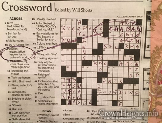 Picture Of The Day Solve This Crossword Clue Crownheights Info Chabad News Crown Heights News Lubavitch News