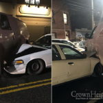 Crash Leaves Delivery Van on Two Wheels