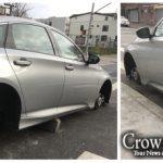 Car Left on Cinder Blocks in Overnight Tire Theft