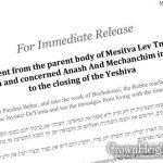 Parents of Mesivta Lev Temimim Respond to Yeshiva Closure