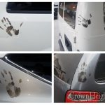 Cars Marks With Black Hand Prints As Labor Day Celebrations Continue