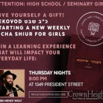 New Sicha Shiur For High School and Seminary Girls in Crown Heights