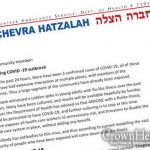 Coronavirus Exposure In Crown Heights Over Purim, Crown Heights Hatzalah Publishes Guidelines And Information