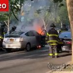 Car Catches Fire On Eastern Parkway in Crown Heights