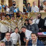 Boys From Yeshivas Darchei Menachem Help Prepare 770 Menorah For Chanukah