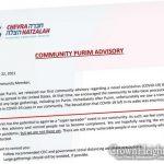 Chevra Hatzalah Releases Purim Advisory